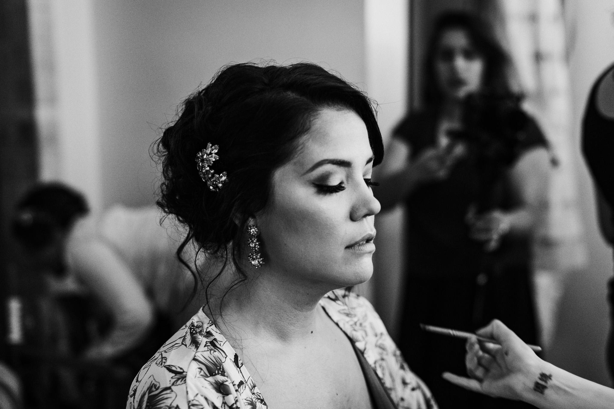 Bridal updo getting ready portrait